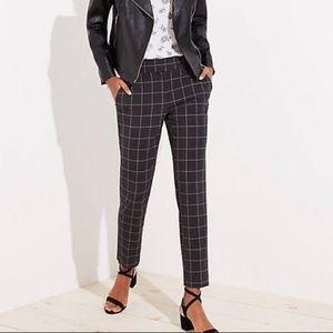 LOFT Marisa Grey and Pink Windowpane Trousers